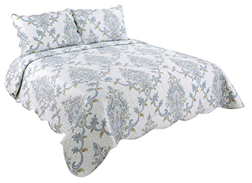 Marina Decoration Rich Printed 3 Pieces Luxury Quilt Set with 2 Quilted Shams, Paisely Damask Pattern, Blue, Yellow and White Color, King Size (Paisely Bedding)