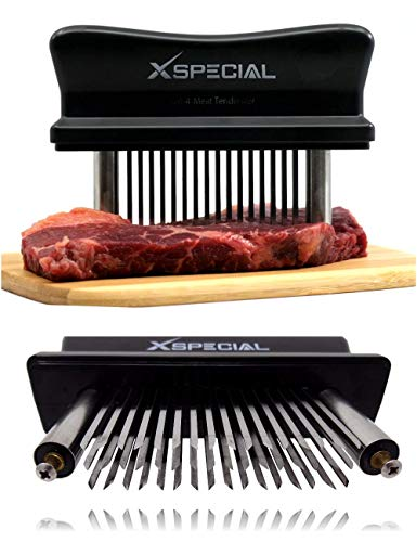 affordable XSpecial Meat Tenderizer Tool 48-Blades Stainless Steel | Easy To Use  Clean - Turn Tough  Hard Meats Into Tender Buttery Goodness | No More Hammer Or Mallet Pounding | 100% Hassle-Free Guarantee!
