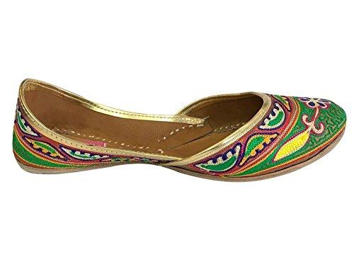 Steg N Style Kvinnor Khusa Äkta Läder Sandal Indisk Traditionell Jutti Khussa Sko Mångfärgad