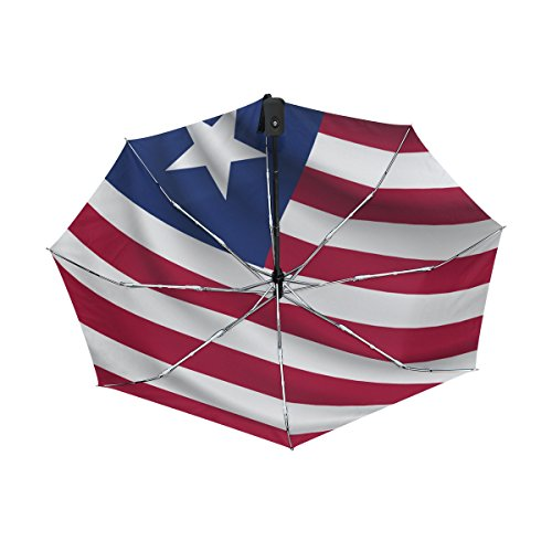 CoolPrintAll Liberia Flag Lightweight UPF 50+ Anti-UV Parasol Waterproof Windproof Reverse 3 Folds Auto Open Close Umbrella ()