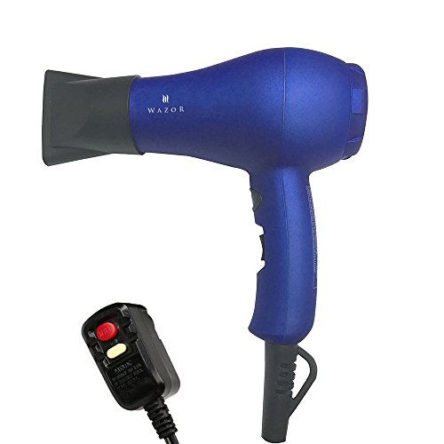 Wazor Hair Dryer Ionic Ceramic Blow Dryer Mini Size For Travel or Children With Cool Button Blue (Hair Blow Dryer Travel)