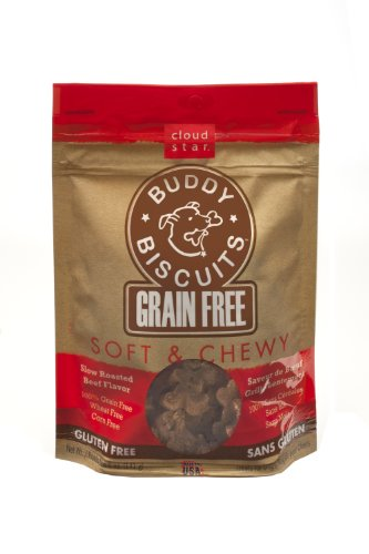 Cloud Star Grain Free Soft and Chewy Buddy Biscuits Dog Treats, Slow Roasted Beef, 5-Ounce, My Pet Supplies