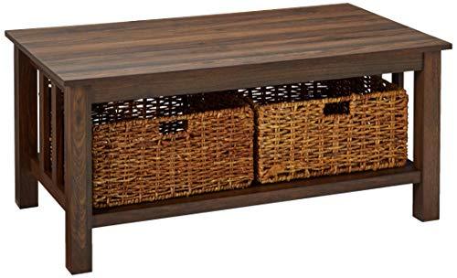 WE Furniture AZ40MSTDW Coffee Table, Dark Walnut
