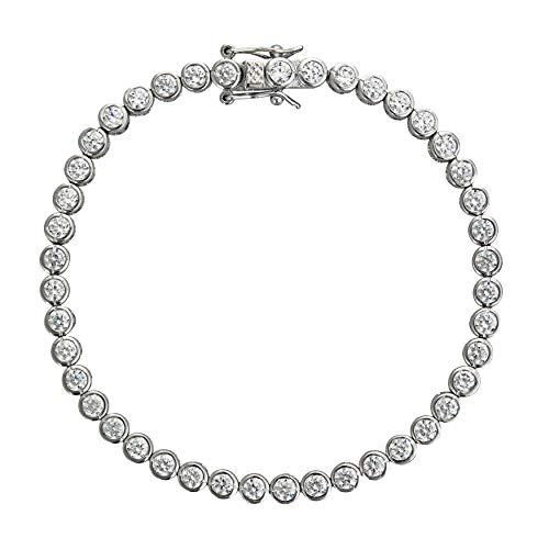 Decadence Women's Sterling Silver 3mm Round Cut Bezel Set Tennis Bracelet, - Round Bezel Inch 3mm 7