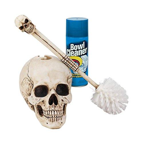 Design Toscano Toilet Brush Set - Skullduggery Skeleton Bath
