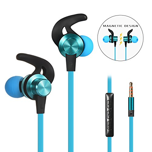 Blue Wireless Ear Buds (Wired Earbuds Earphones, Baymic In Ear Headphones Magnetic Ear Buds Built-in Mic / Volume Control, Metal Bass Stereo Noise Cancelling Headsets Sweatproof Ear Phones for Running & Sports (Blue))