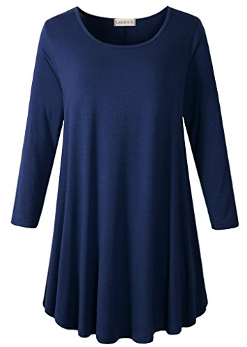 (LARACE Women 3/4 Sleeve Tunic Top Loose Fit Flare T-Shirt (4X, Navy Blue))