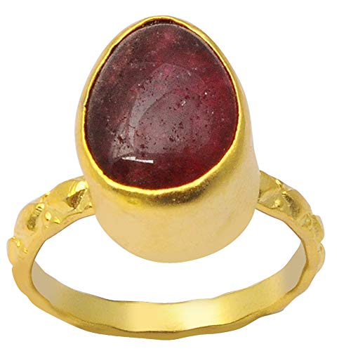 Red Pear Cut Ruby Brass Fashion Ring For Women: Nickel Free Beautiful Engagement Gift For Wife: Birthstone Month-July By Orchid Jewelry (Simple.Beautiful.Affordable): Ring Size-8