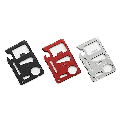 QLL 11 in 1 Beer Opener Survival Card Tool Fits Perfect in Your Wallet, Silver&Red&Black (Flat Butterfly Cards)