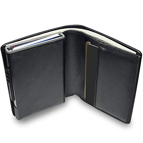 2caa19f7ae ... Leather Mens Card Wallet | Credit Card Holder| Contactless Credit Card  Protector |Ultra Thin Automatic Pop-up Card Case (Black): Amazon.co.uk:  Luggage
