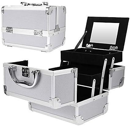 Xelparuca - Maletín de aluminio para maquillaje, caja de cosméticos, estuche organizador para maletero de belleza, color plateado: Amazon.es: Belleza