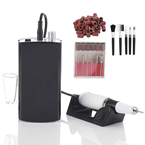 Miss Sweet Portable Nail Drill Machine Rechargeable Electric Nail File for Acrylic Nail RPM30000 (Black)