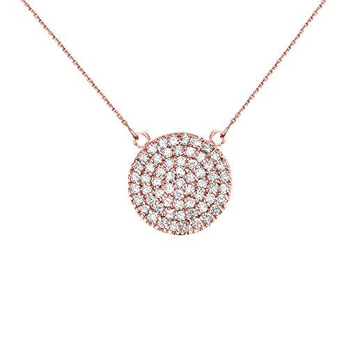 Collier Femme Pendentif 14 ct Or Rose 0.5 Carat Diamant Micro Pave Cercle (21 mm) (Livré avec une 45cm Chaîne)