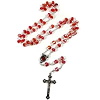 Red Crystal Beads Prayer Rosary Catholic Necklace Holy Soil Medal Cross 17