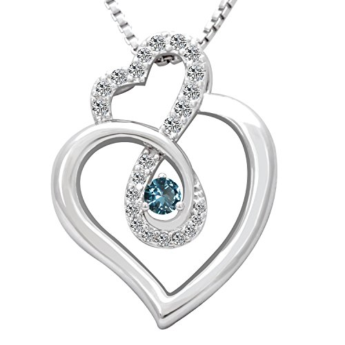 Birthday Gifts Infinity Endless Love March Birthstone Necklace Jewelry for Women, Girls Sister Mom Mother Wife Girlfriend Grandma Friendship, Valentine's Day, Mother's Day, Christmas (Aquamarine)