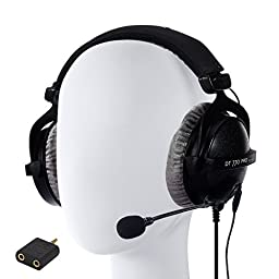 Beyerdynamic DT 770 Pro 250 Ohm Closed Back Studio Headphone Bundle INCLUDES Antlion Audio ModMic Attachable Boom Microphone - Noise Cancelling with Mute Switch AND Antlion Y Splitter
