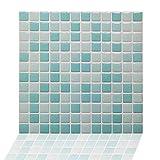 Kitchen Backsplash Smart Tiles Self Adhesive Tiles Peel and Stick 3D Wall Tile Anti Mold Anti Oil PET Wall Decor Backsplash Panels for Kitchen Bathroom White/Light Green/Turquoise Color(10 Tiles)