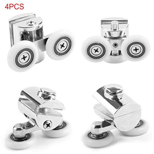 Shower Double Door wheels 25mm Shower Door Rollers 4pcs,Stainless Steel Shower Door Twin Rollers Runners (Silver)