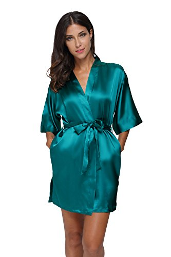 The Bund womens Pure Colour Short Kimono Robes with Oblique V-Neck Seagreen Large]()