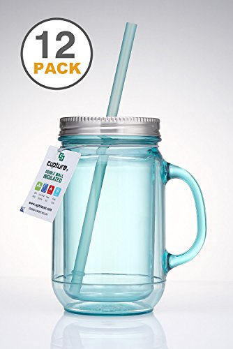 Cupture 12 Vintage Blue Mason Jar Tumbler Mug With Stainless Steel Lid and Straw - 20 oz by Cupture