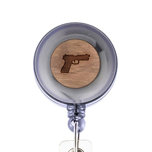 Pistol Badge Holder with Retractable Reel and Clip, Laser Engraved Wood Design, Custom Badge Holder, Corporate Gifts