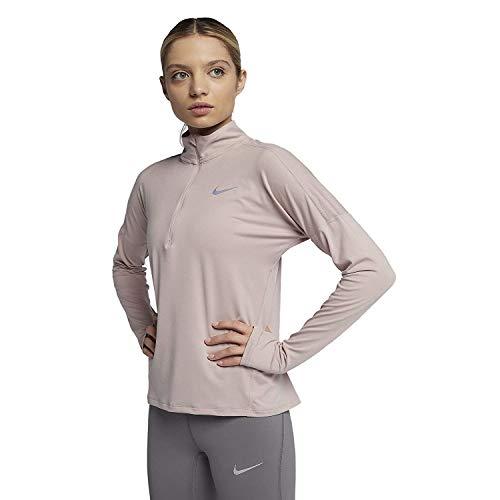 NIKE Women`s Long Sleeve Running Dri-FIT Element Half-Zip Top (Light Peach(855517-684)/Reflective Silver, X-Large)