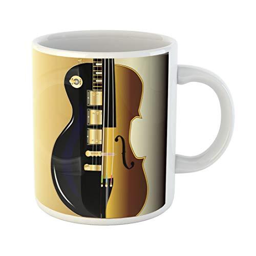 Semtomn Funny Coffee Mug Electric Modern Rock Guitar Woth More Traditional Violin Black 11 Oz Ceramic Coffee Mugs Tea Cup Best Gift Or Souvenir