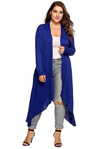 Cappotto A Maglia Elegante Donna Moda Cardigan Autunno Mode di marca Monocromo Slim Fit Irregular Manica Lunga Maglioni Lunghi Casual Di Moda Pullover (Color : Blau, Size : 3XL)