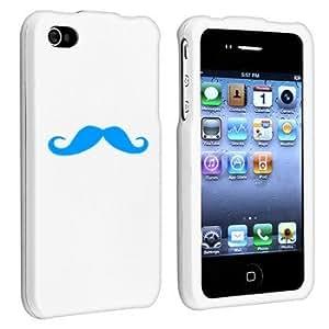 Apple iPhone 4 4S White Rubber Hard Case Snap on 2 piece Light Blue Mustache