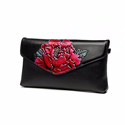 nazionale di vento clutch bag, signore di grandi capacità di banchetto borsa,peonia verde rose peonie