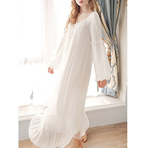 Singingqueen Women s Vintage Victorian Nightgown Long Sleeve Sheer ... c9641916a