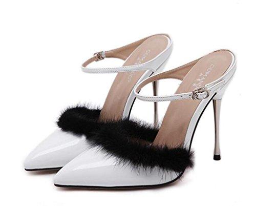 Las correas del tobillo de la boda bombas Scarpin el 11cm del talón del conejo de la decoración del pelo Las señoras del verano señalaron los zapatos del dedo del pie UE tamaño 35-40 White