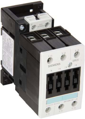 Siemens 3RT10 34-1AC20 Motor Contactor, 3 Poles, Screw Terminals, S2 Frame Size, 24V at 50 and 60Hz AC Coil Voltage Voltage