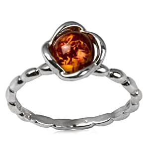 Sterling Silver Amber Flower Design Tiny Ring
