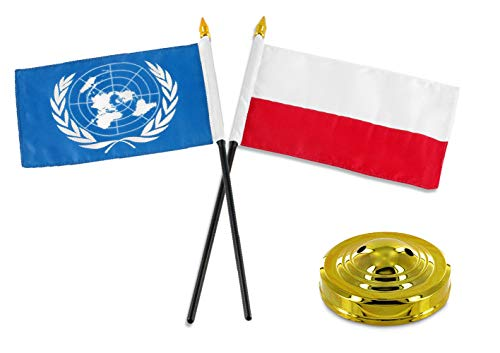 ALBATROS Poland Polish with United Nations Flag 4 inch x 6 inch Desk Set Table Stick with Gold Base for Home and Parades, Official Party, All Weather Indoors Outdoors