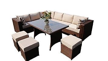 YAKOE 50118 2017 Papaver 9 Seater Corner Sofa Dining Rattan Garden Furniture  Set   Brown