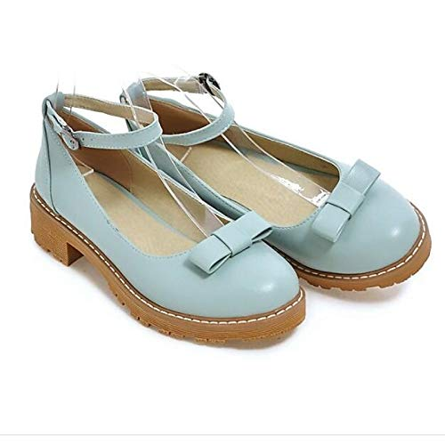 ZHZNVX Heels Spring Basic Blue Heel Low Pink Polyurethane PU Black Pump Women's Blue rwFBHr