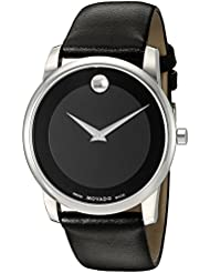 Movado Mens 0606502 Museum Stainless Steel Watch with Black Leather Band