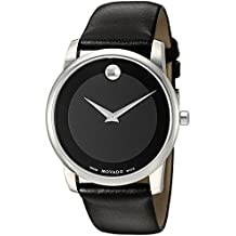 Movado Men's 0606502 Museum Stainless Steel Watch with Black Leather Band