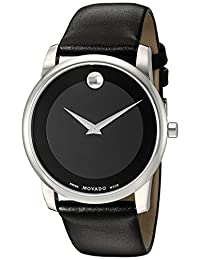 "Movado Men's 0606502 ""Museum"" Stainless Steel and Black Leather Watch"