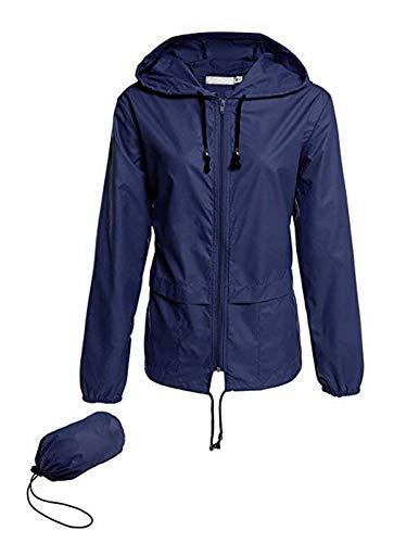 - MAVIS LAVEN Womens Solid Color Hoodie Outdoor Windbreaker Blue X-Large