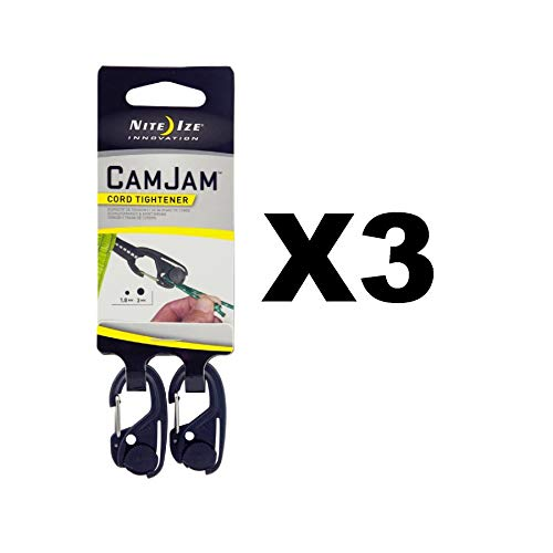 Nite Ize CamJam Mini Cord Tightener Small Compact Durable (3-Pack of 2)