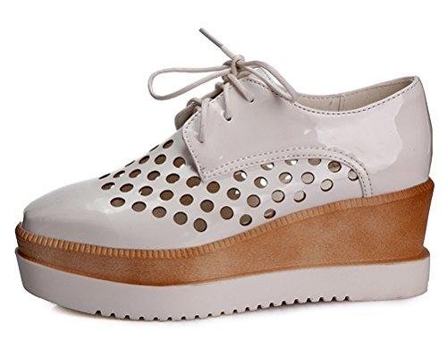 Zapatos Charol Cordones Planos de Mujer HiTime Blanco con APdBqwqO