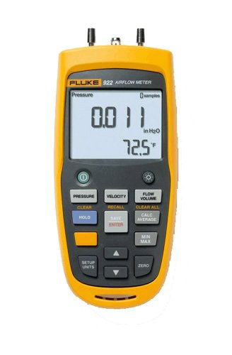 Fluke 922 Airflow Micromanometer with Bright Backlit Display, +/- 0.6 psi Pressure, 16000 fpm Velocity, 99999 cfm Volume by Fluke