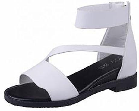 Gaorui Women's Peep Toe Ankle Strap Gladiator Flat Sandals