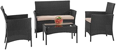 PayLessHere Patio Furniture 4 Pieces Outdoor Indoor Use Rattan Chairs Wicker Conversation Set