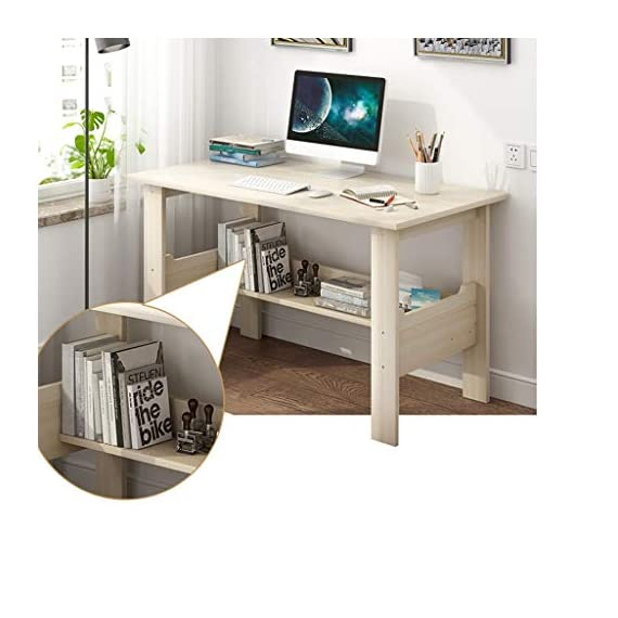 """Computer Desk with One-Tier Storage Shelves, Modern Large Office Desk Computer Table Studying Writing Desk Workstation with Bookshelf and Tower Shelf for Home Office (White) - Fast shipping: You will receive the product in 3 - 5 days after you purchase. Package will be shipped from East Coast Area or West Coast Area By FedEx & DHL.The biggest two of our warehouses are located in Orlando and Los Angeles. Large Desktop: L*39.4 x W*17.7 x H*28.3 inches(100x45x72CM),the computer desk has strictly quality checking before packaged.It's extremely sturdy and easy to clean, rag cleaning is enough SUPER DURABLE & STABLE: 0.85"""" thick MDF board is water & dust resistant and easy to clean. Foot pads not only can be used in uneven ground to prevent scratches, strengthen the stability, but also make adjustment of height to meet your various demands. - writing-desks, living-room-furniture, living-room - 41OELbNryML. SS570  -"""