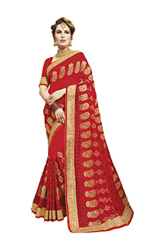 Indian Sarees For Women Wedding Designer Party Wear Red Traditional Sari by Indianfashion Store