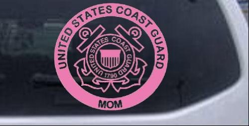 United States Coast Guard Mom Military Car or Truck Window Laptop Decal Sticker -- Pink 6in X 5.6in