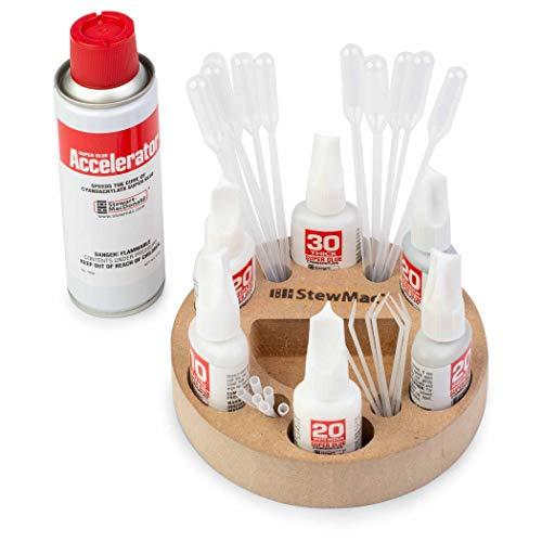 StewMac Super Glue Caddy Set, with StewMac Super Glues, StewMac Accelerator, and Tools for Any Glue Job
